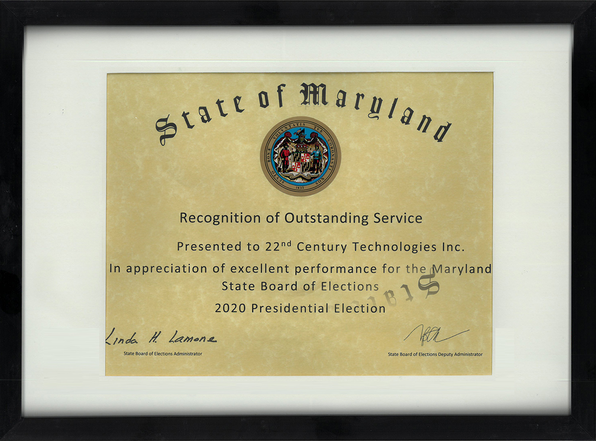 Recognition of outstanding services from the State of Maryland (2020 Presidential Election)
